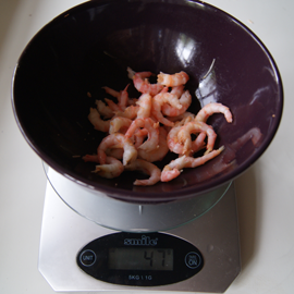 Cooked peeled prawns